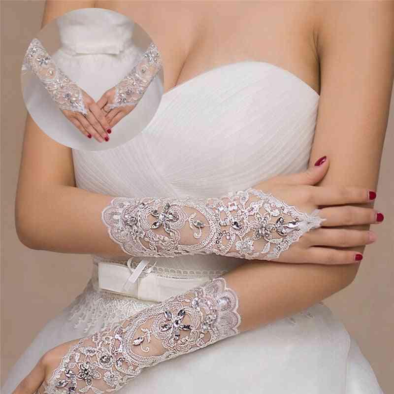 Elegant Short- Rhinestone, Lace Glove, Wedding Accessories