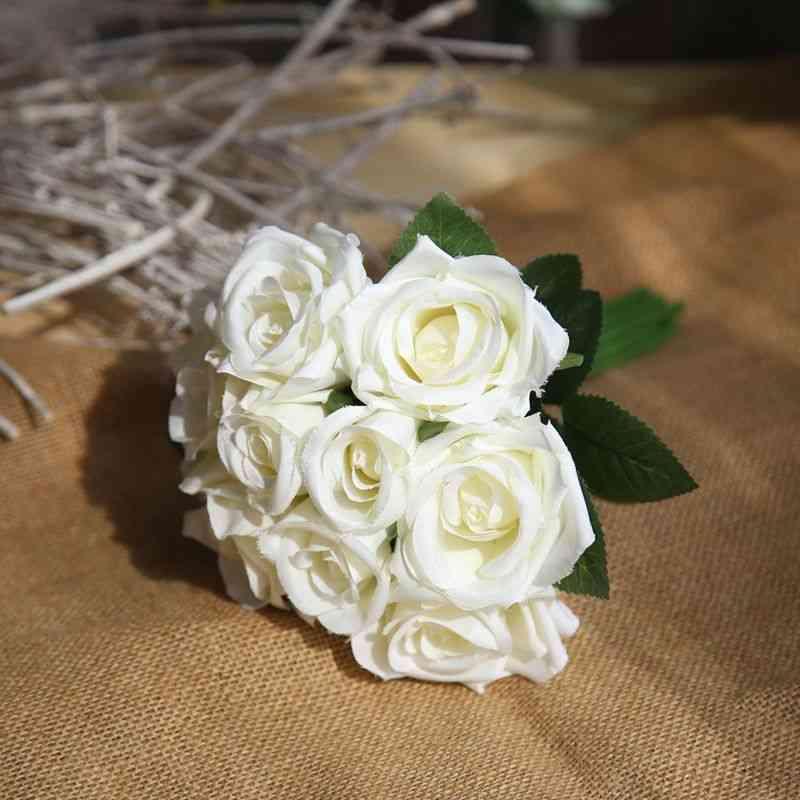 Silk Roses- Wedding Bouquet, Bridal Artificial Flowers, Home Decoration