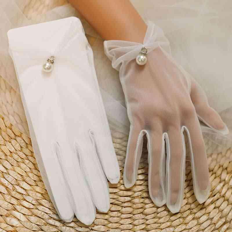 Bride Wedding- Short Design, Lace Transparent, Gloves