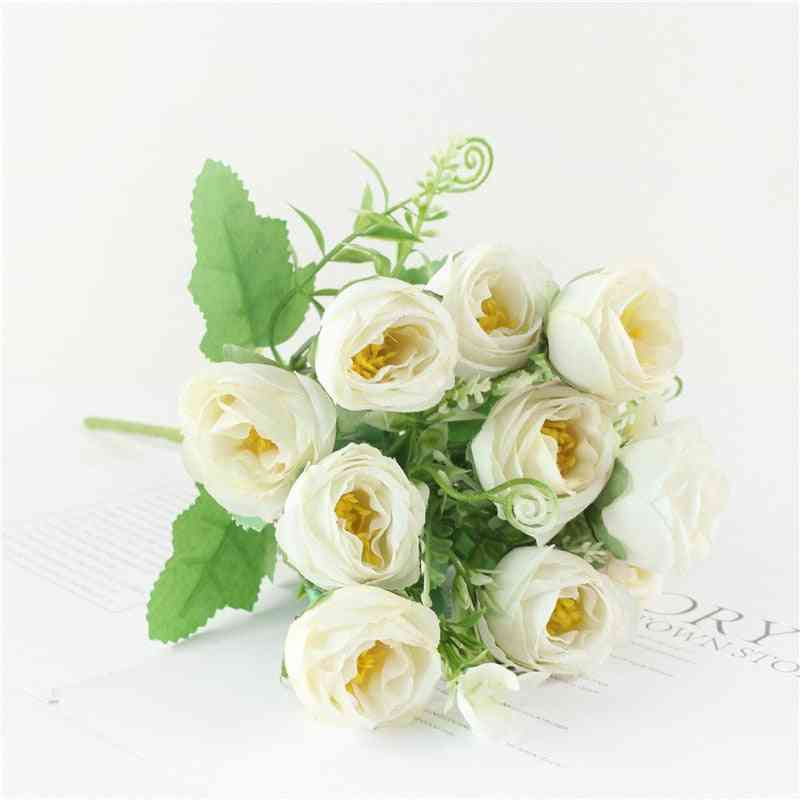 10-heads Artificial, Flowers Roses, Bouquet Flowers For Home, Wedding Decoration