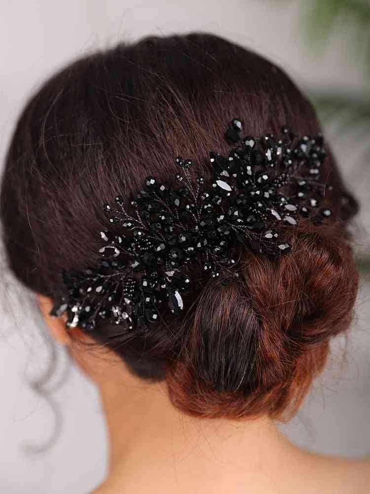 Vintage Style Rhinestone Comb Clip-hair Accessories For Women