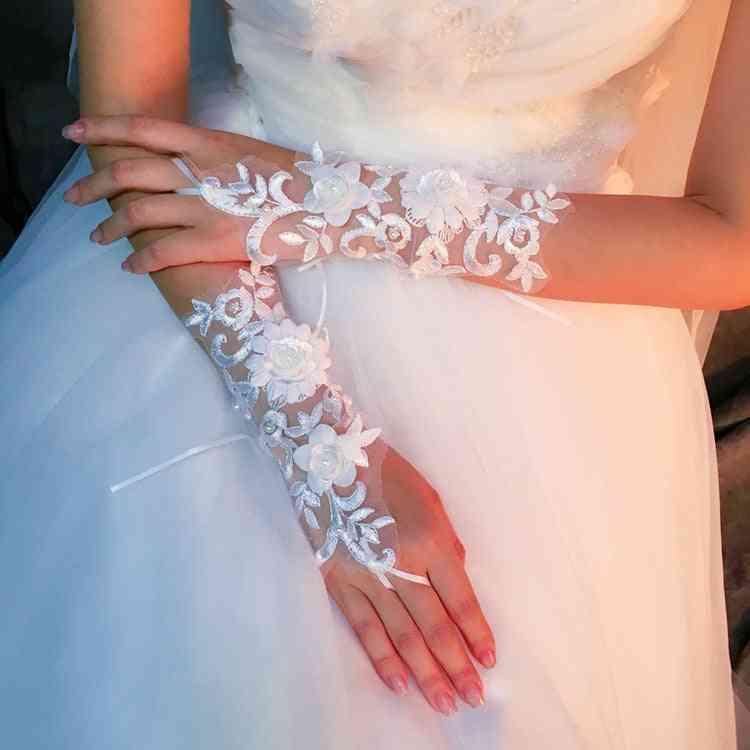 White Short Fingerless, Elegant Pearls, Evening Bridal, Wedding Gloves (white)