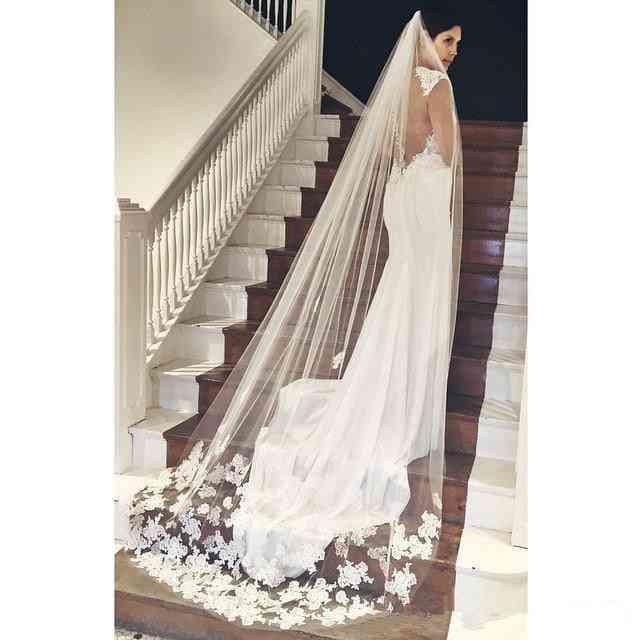 Long Lace, Appliques Bridal Wedding, Veil
