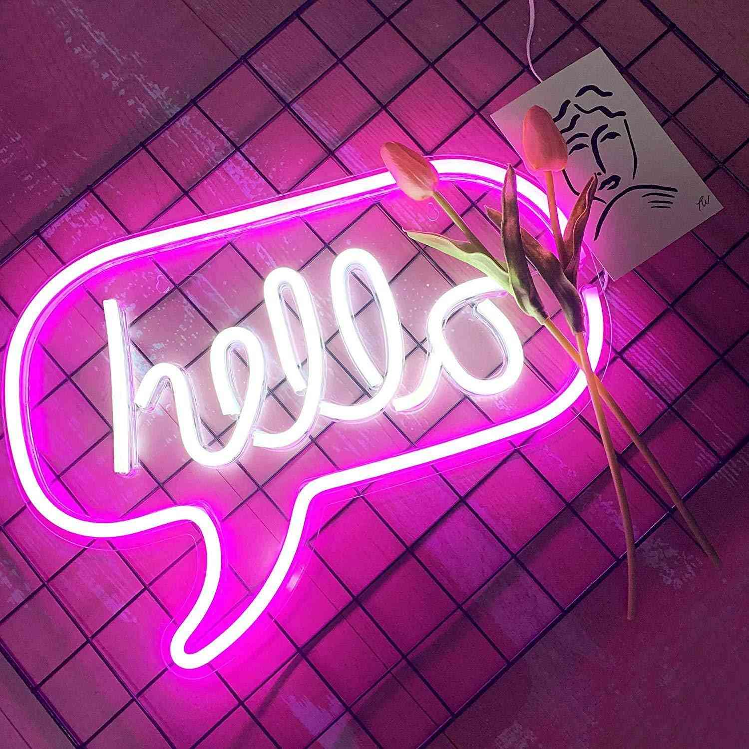 Hello Shaped Sign Neon Light For Decorations