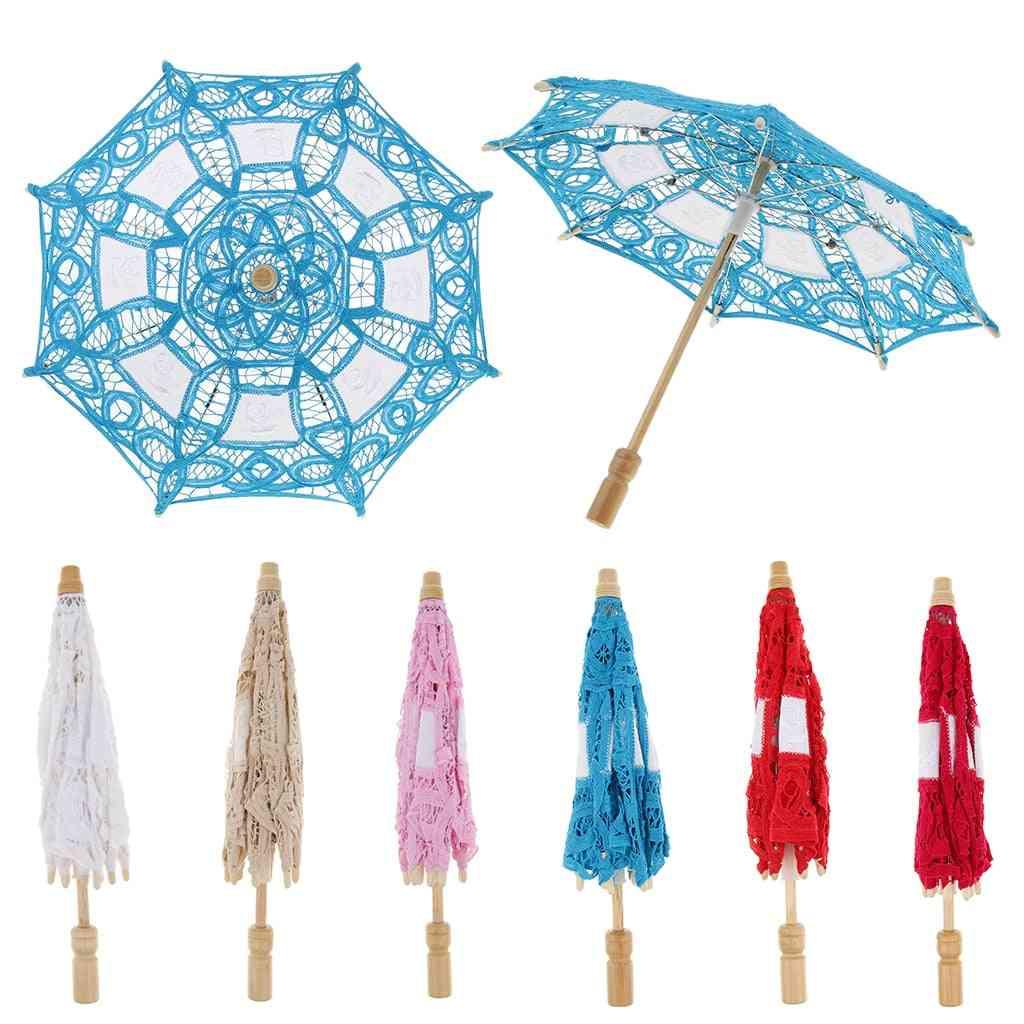 Vintage Mini Cotton Lace, Embroidered Sun Parasol Umbrella