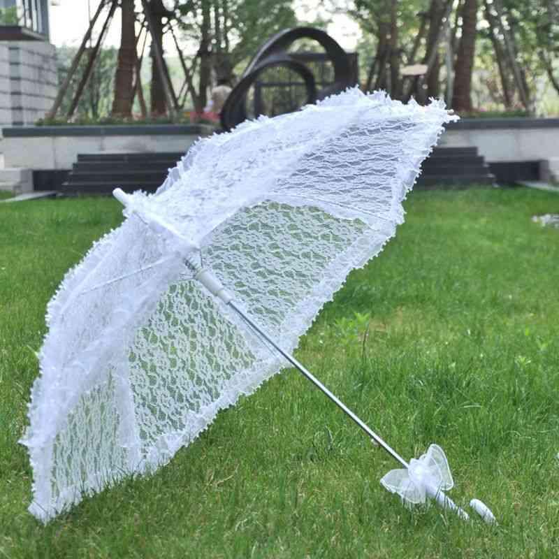 Wedding Bridal Parasol Umbrella, Hollow Lace For Romantic Photo Props