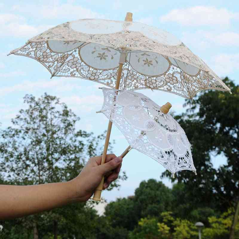 Elegant Lace, Cotton Embroidery Umbrella For Decoration/photography