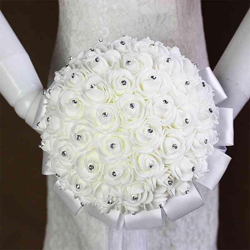 Bridal Wedding Bouquet With Pearl Beaded Foam Flowers