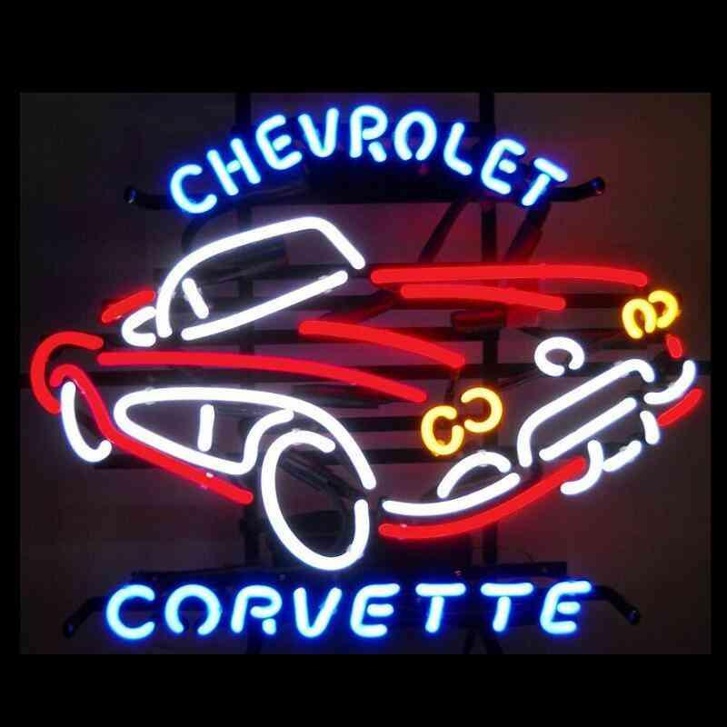 Chevrolet Corvette Glass Neon Light Sign Beer Bar