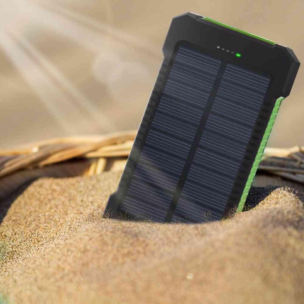 30000mah, Dual Usb And Portable Solar Panel External Battery Power Bank