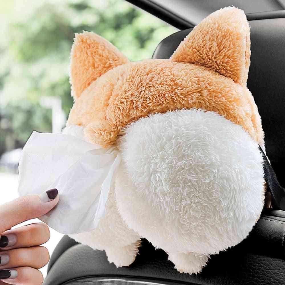 Creative Corgi Ass Tissue Box, Cute Animals Car Paper Boxes