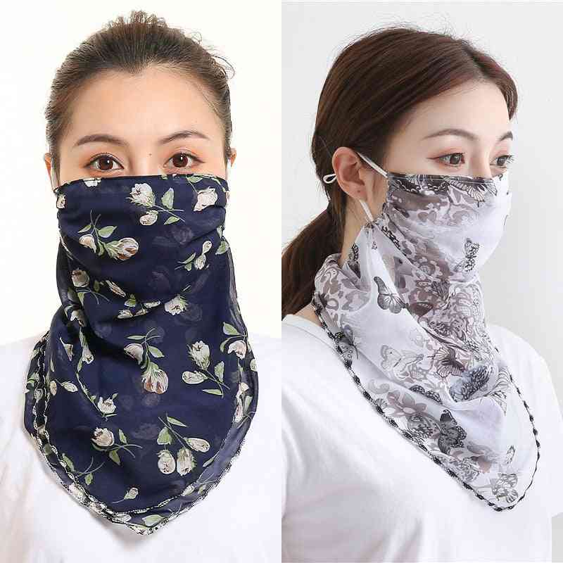 Women Face-mask, Sun-protection, Scarves Neck Cover, Mouth Scarf, Ring Bandana