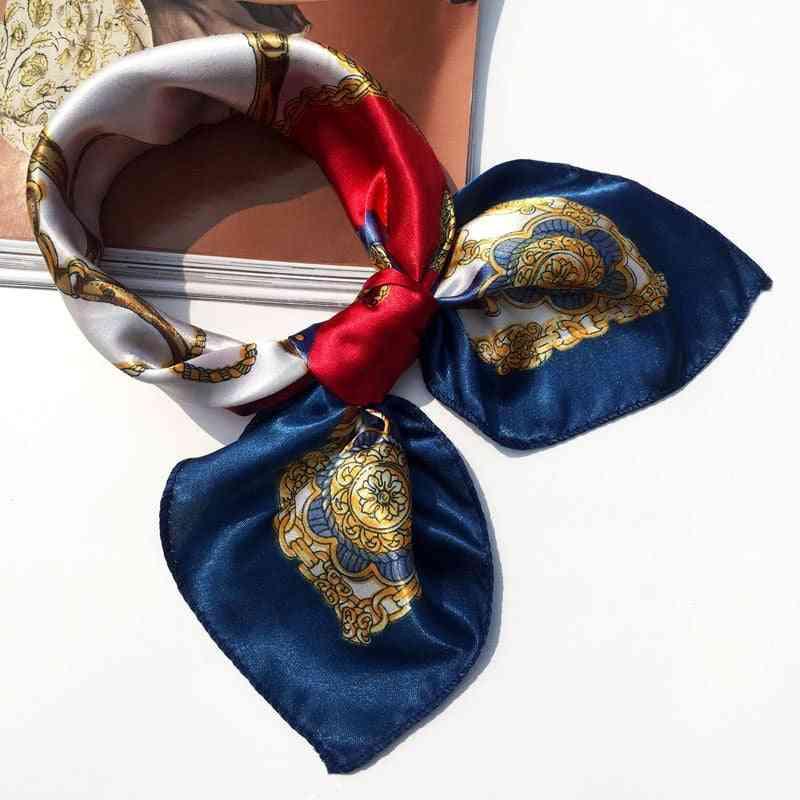 Women Multifunction Printed Silk Scarf Headwear
