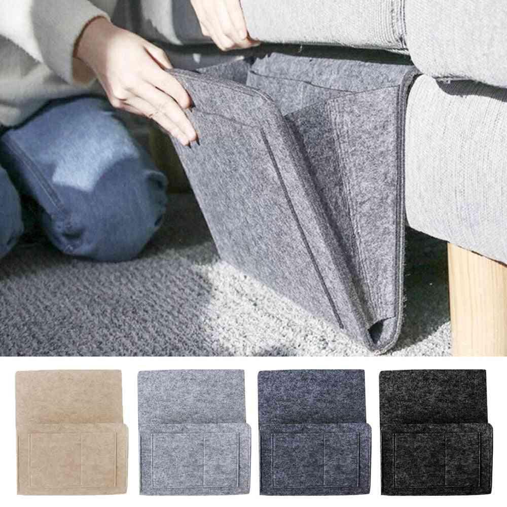 Felt Bedside Storage Bag With Pockets, Convinient Bed Sofa Desk Hanging Organizer For Phone