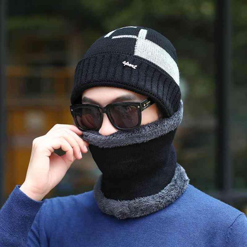 Wool Knitted Winter Scarf Hat/women