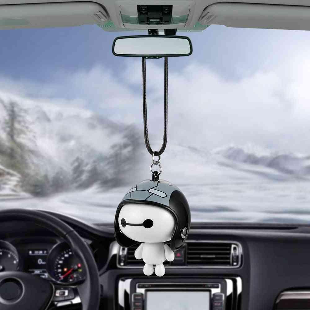 Pendant Cute Helmet Baymax Robot Doll Hanging Ornaments Automobiles Rearview Mirror