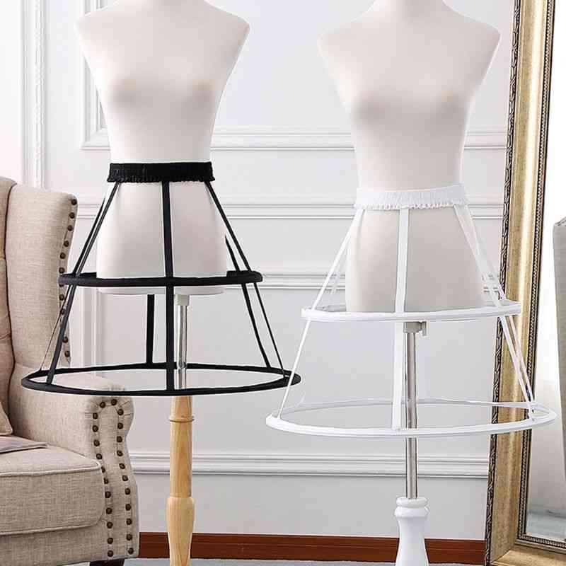 Underskirt Women Elastic Waistband Adjustable Pannier Petticoat 2 Hoop Cage Skirt