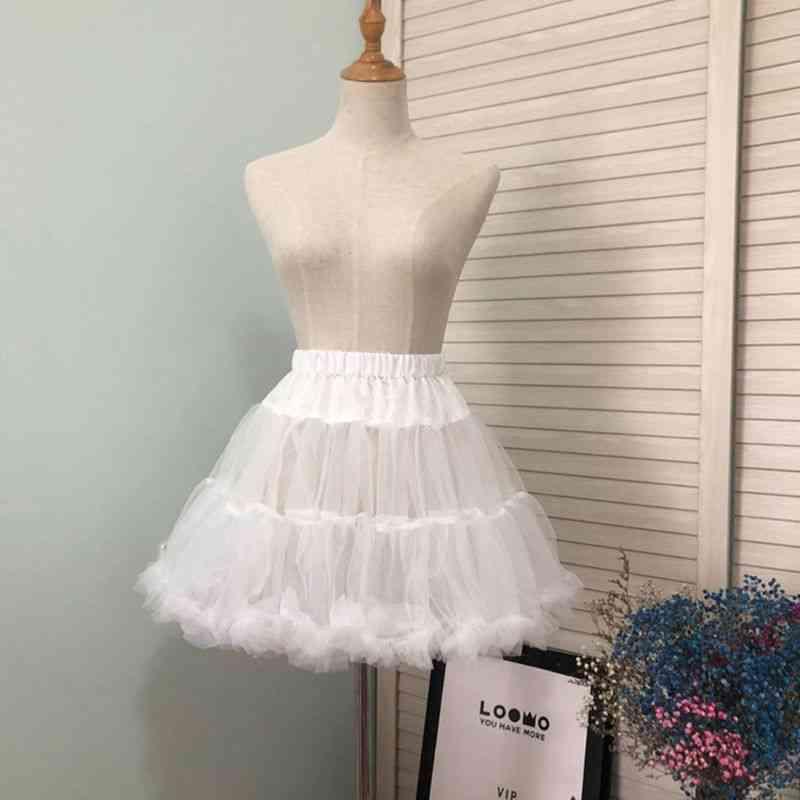 Girls Ruffled Short Petticoat, Solid Fluffy Bubble Tutu Skirt Puffy Half Slip Prom Crinoline