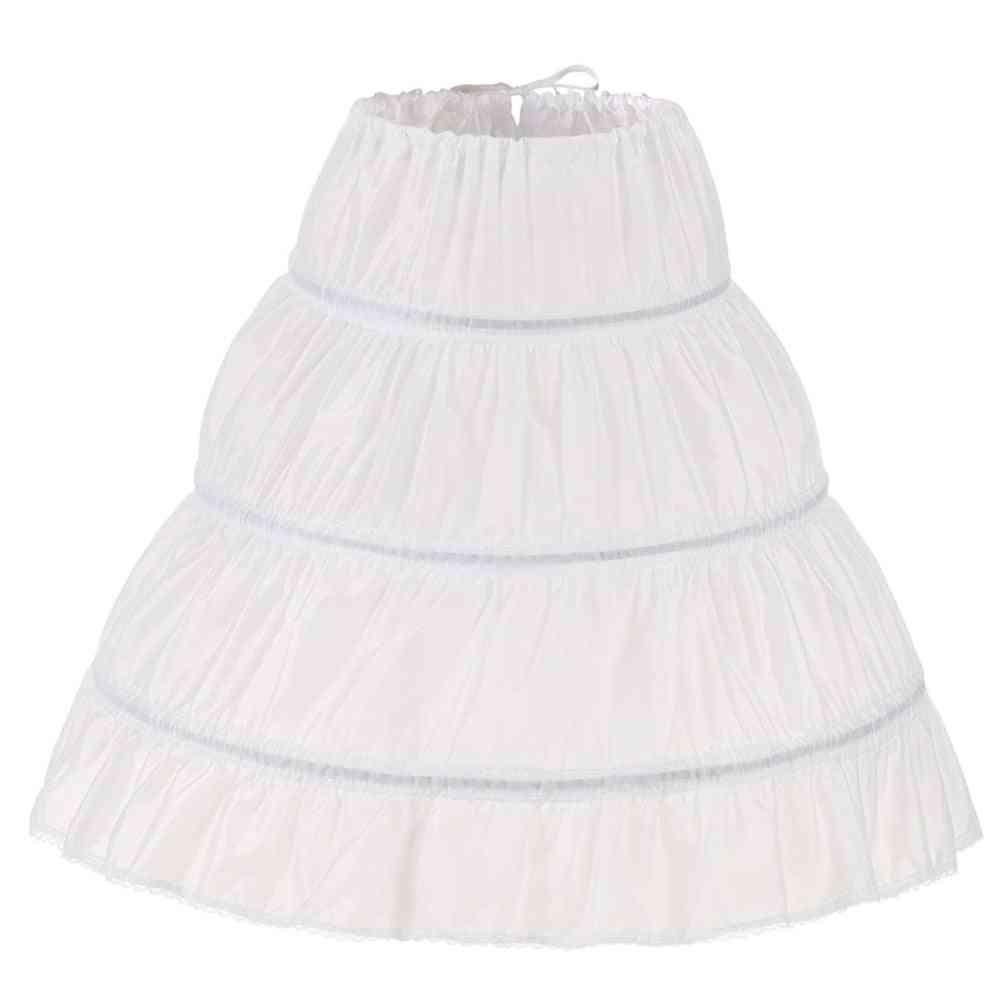 Children Petticoat A-line Hoops One Layer Crinoline Lace Trim Flower Girl Dress Underskirt