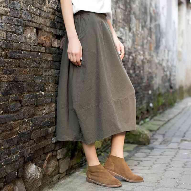 Girl Cotton Linen Loose Waist Skirt, Ethnic Vintage Long Lantern Women Clothing
