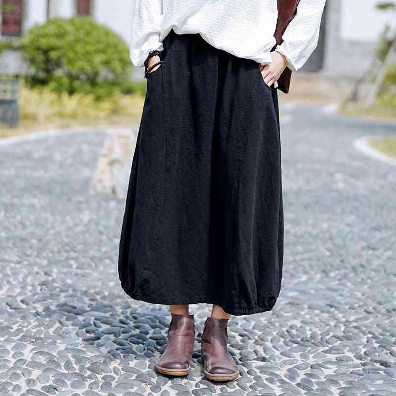 Simple Retro Pockets All-match Women Flower Bud Half Skirt