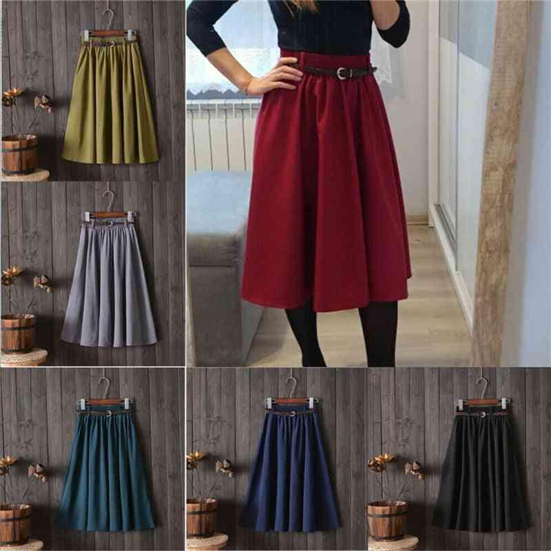 Retro Summer Women Elastic High Waist Skirts With Belt