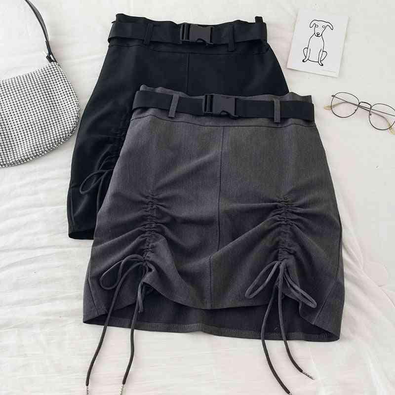 Safari Style Drawstring Mini Skirts