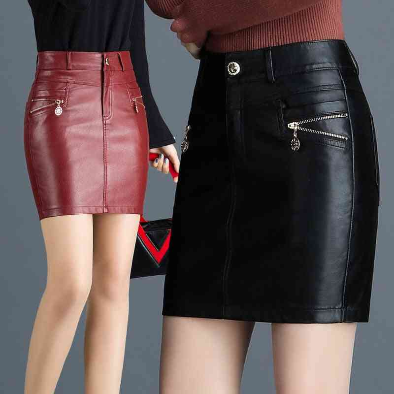 Imitation Leather Winter Casual Skirt