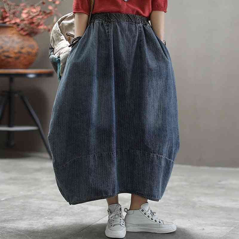 Spring & Autumn Denim Skirt, Elastic Waist Loose Striped Midi Women Clothes
