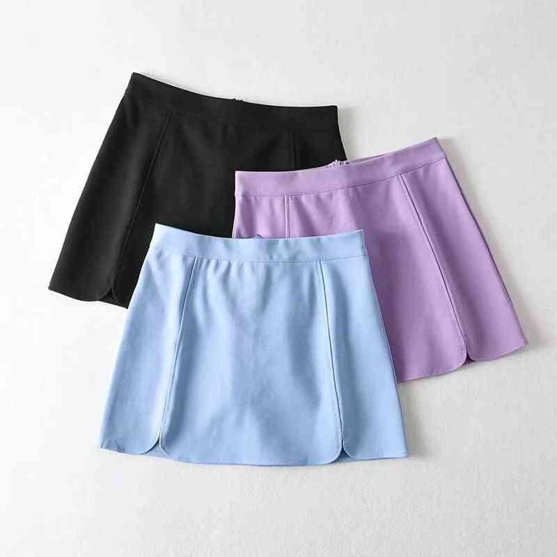 Bm Style High Waist Flower Petal Short Skirt, Women's Summer Split Leg Long