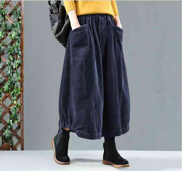Casual Retro, Elastic Waist, Loose Pocket, Button Bud, Skirt