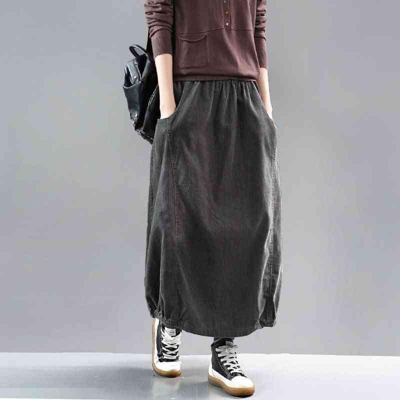 Vintage Style Corduroy Cotton Skirt