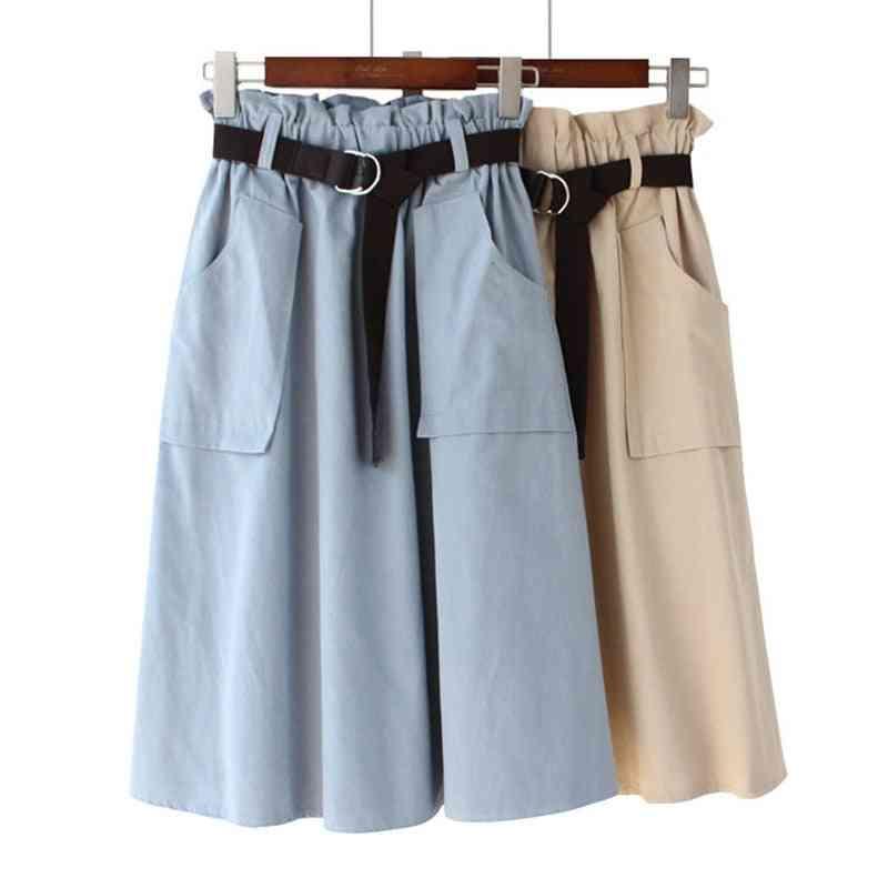 Summer Cotton, High Waist Skirt With Belt And Pocket