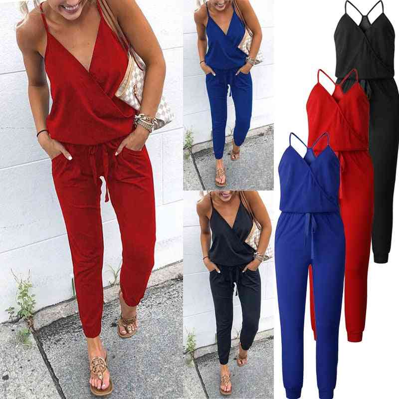 Casual- Cross Strap, Lace-up, V-neck Sleeveless, Jumpsuits
