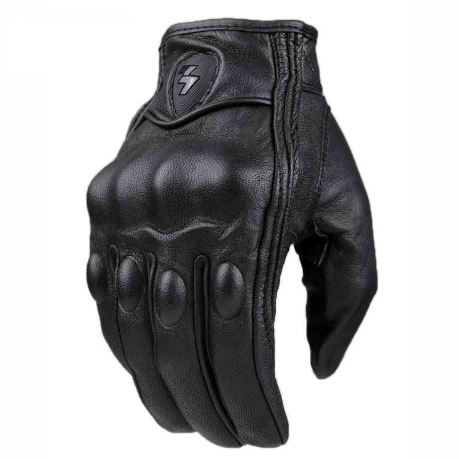 Retro Pursuit- Perforated Leather Waterproof, Motorcycle Gloves