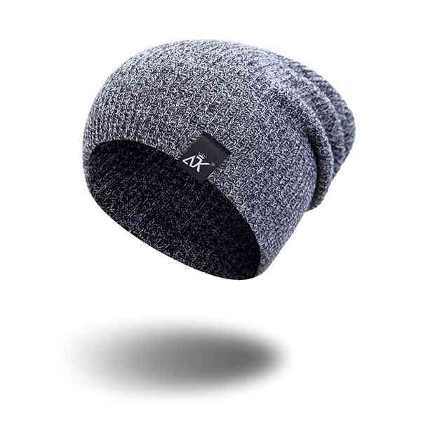 Winter Outdoor Bonnet Skiing Hat, Soft Acrylic Slouchy Knitted Cap For