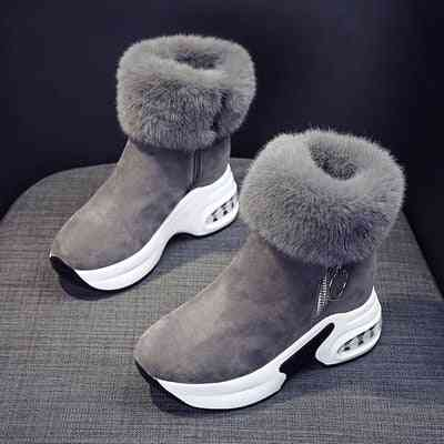 Ankle Warm, Plush Winter, Leather Snow Boots