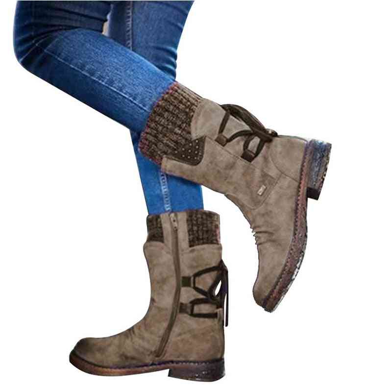 Autumn Early Winter Flat Heel Boot, Fashion Knitting Patchwork Ankle Boots