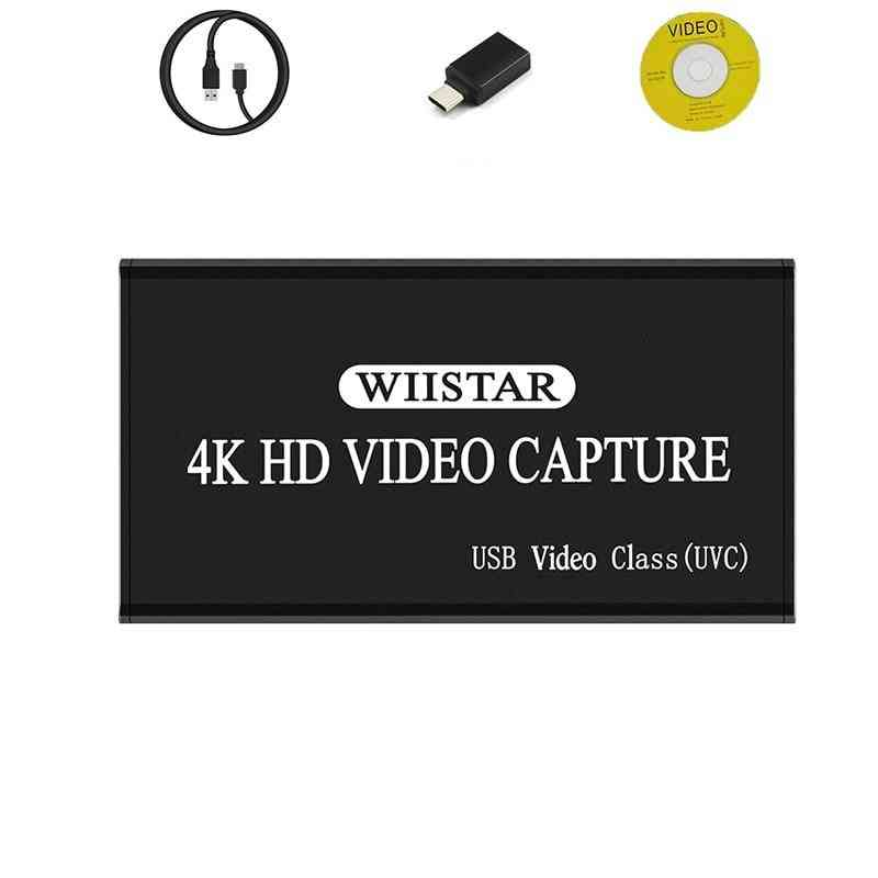 Hdmi To Usb Type C, Video Capture Card Revoder For Live Stream