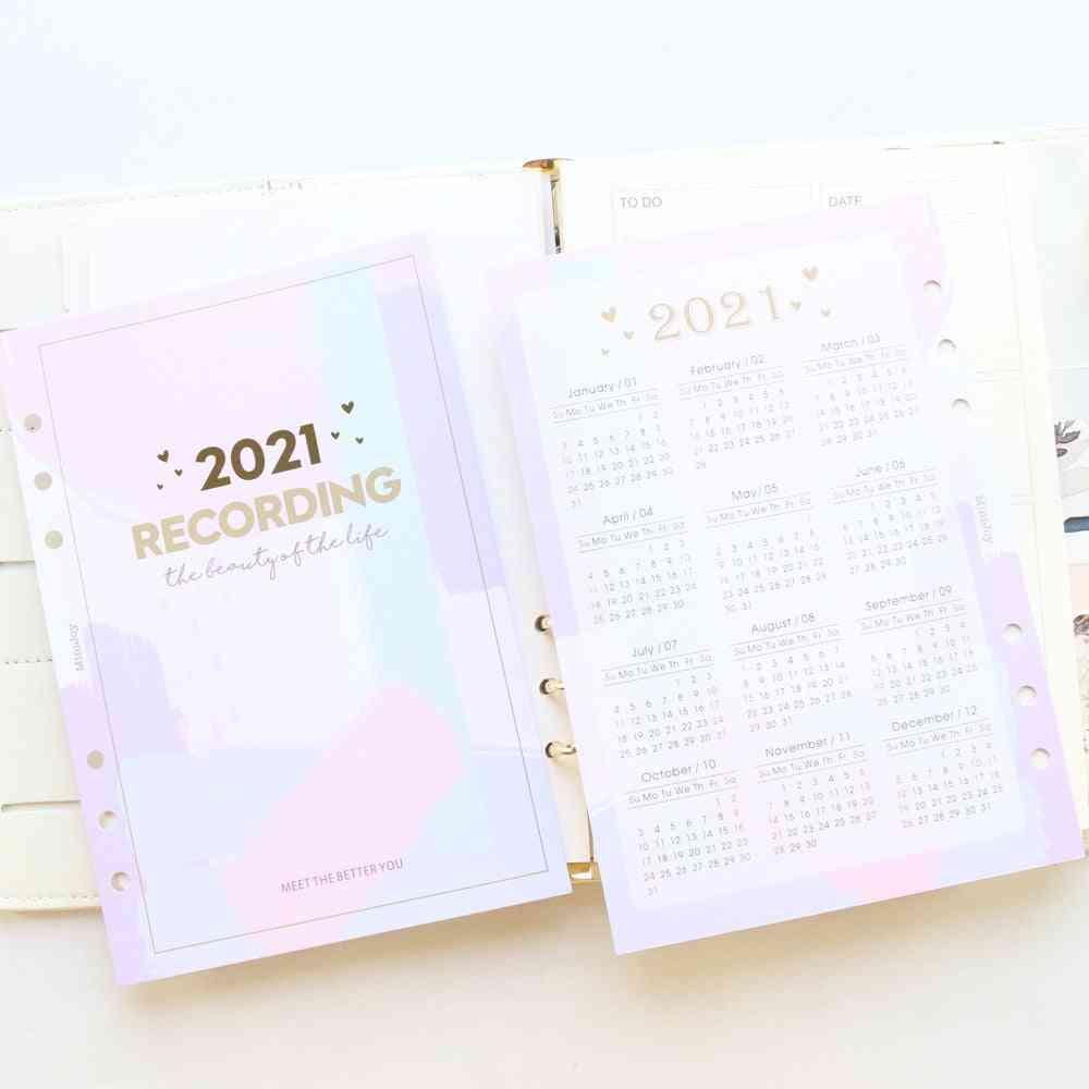 Cute Year Calendar Index Divider For 6 Ring Binder Planner, Agenda Organizer Notebook Accessories