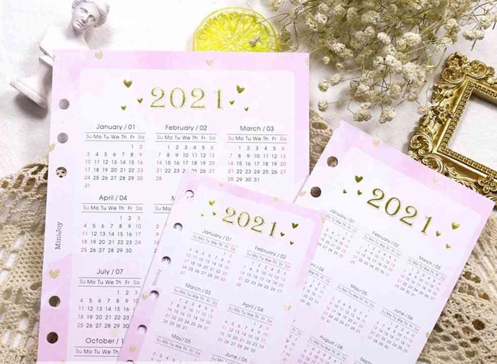 Calendar Notebook Index Divider For 6 Holes Diary Binder, Monthly Planner Colorful Card Paper
