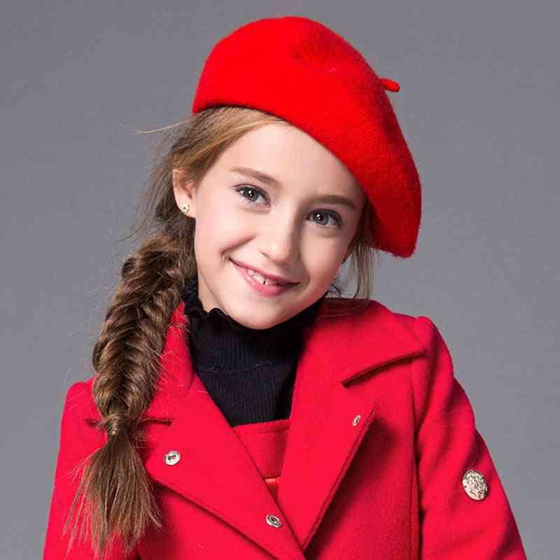 Kids Beret Winter Cute Black Red Wool Cap, Hat