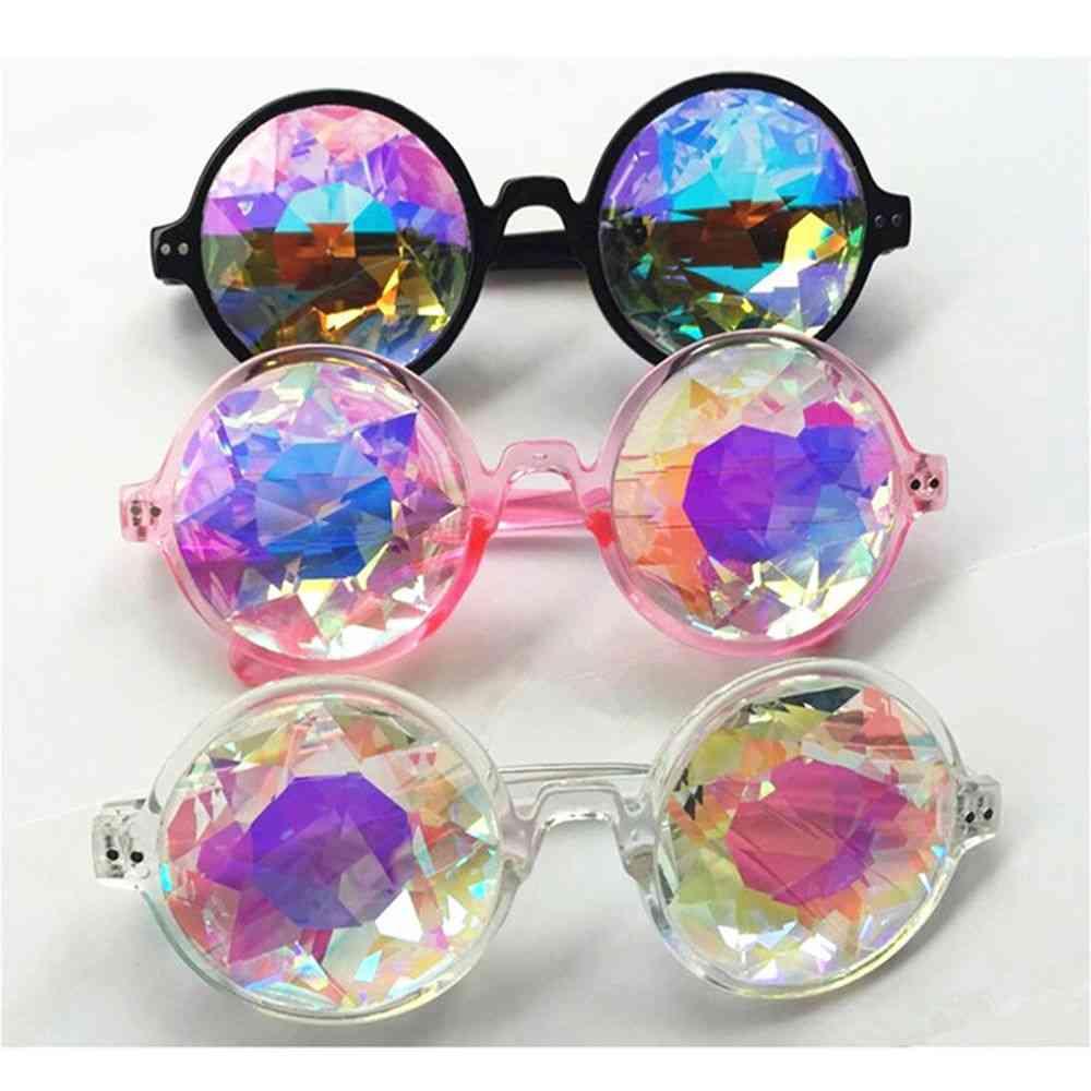 Round Kaleidoscope Glasses, Women Rave Festival Sunglasses
