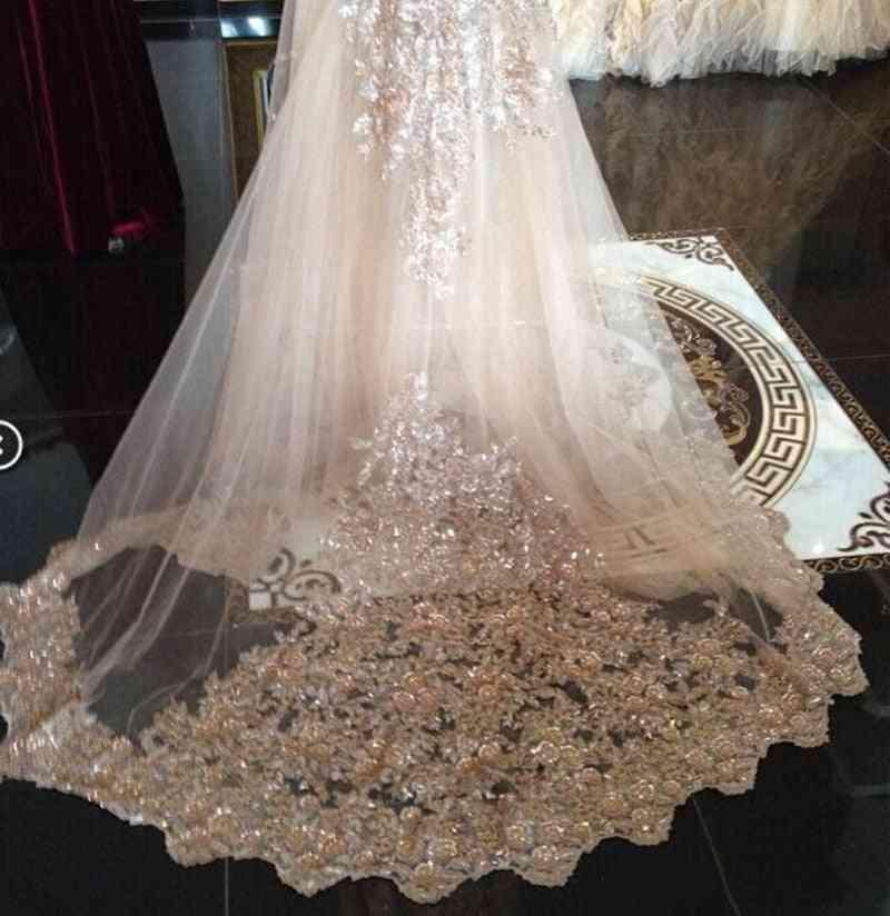 Bridal Veils Sequins Luxury Cathedral Appliques Lace Edge Long Wraps