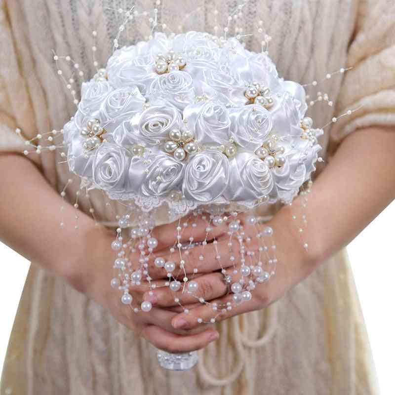 Ribbon Flowers, Stunning Pearls Beaded Bridal