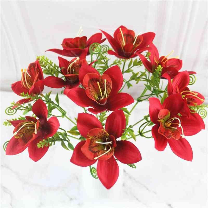 Artificial Orchid Flower Bouquet, Silk Fake Desk Vase Accessories