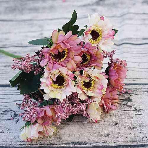 Heads Mini Silk Artificial Flowers, Daisy For Wedding
