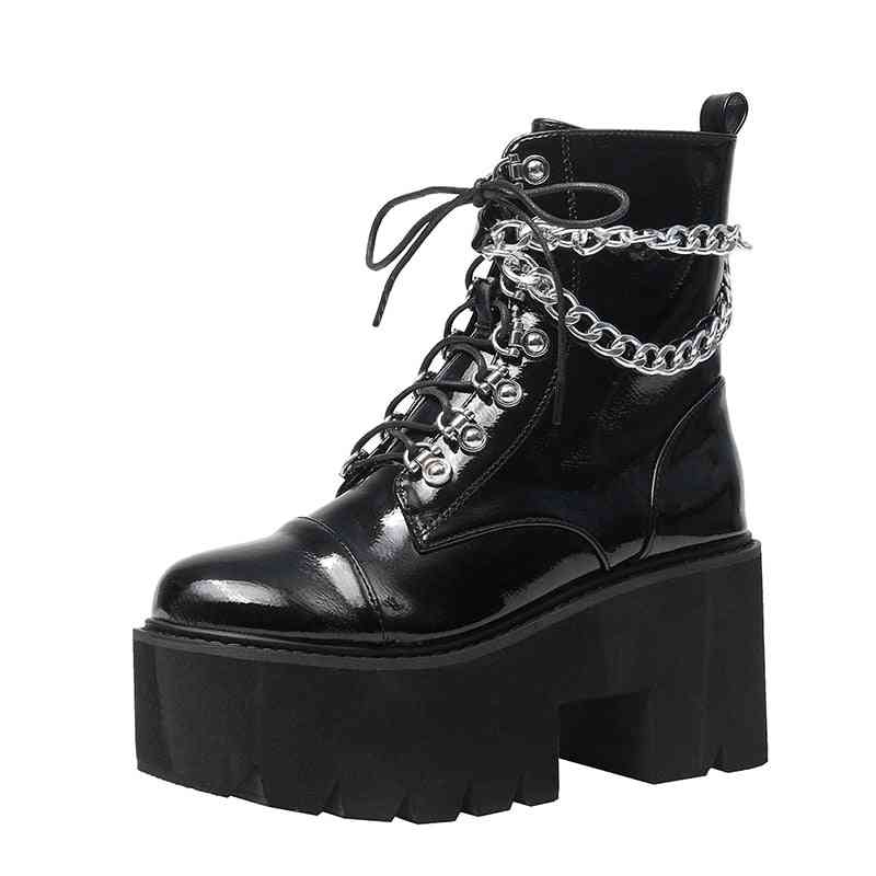 Patent Leather Gothic Boots, Chain Chunky Heel