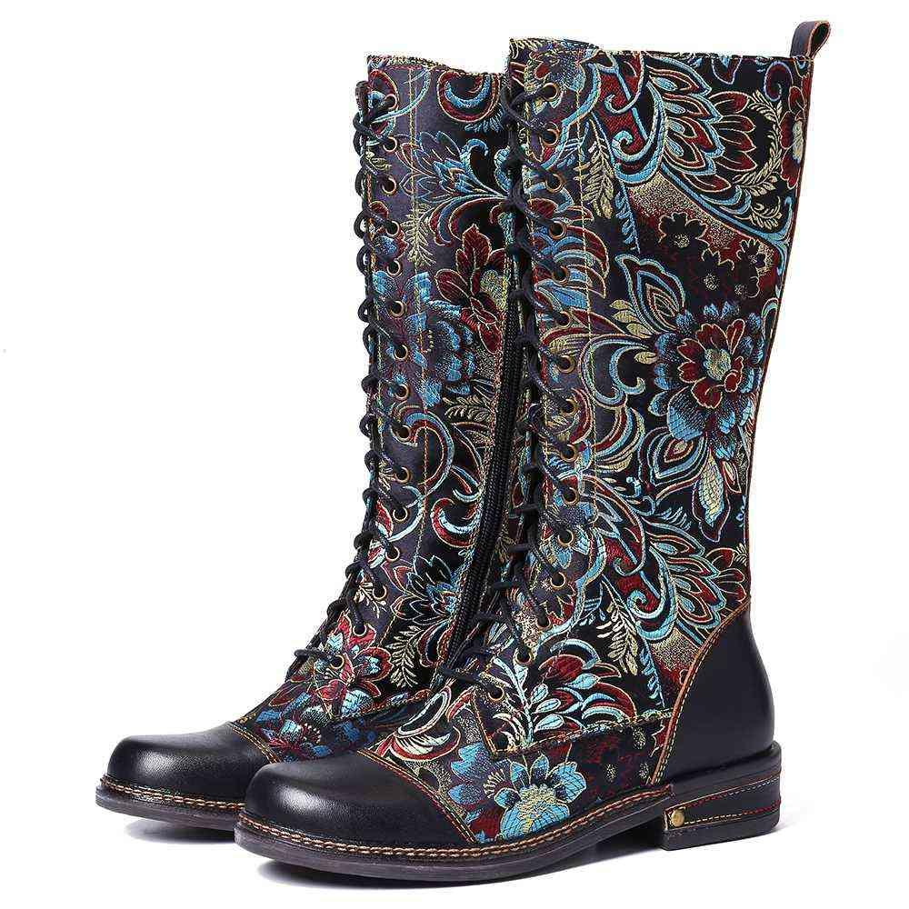 Flowers Pattern Stitching Elegant Zipper Lace Up Flat Mid Calf Boots
