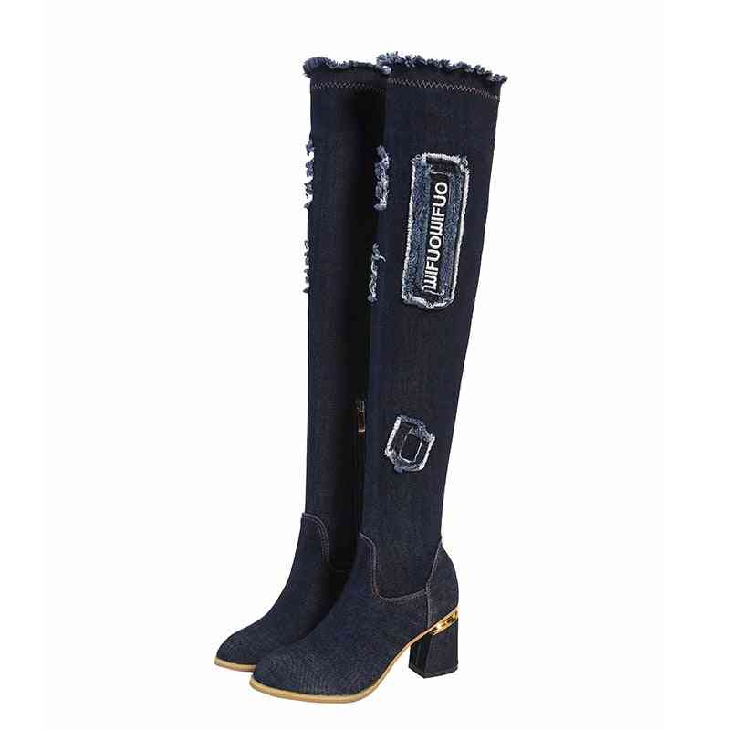 Denim Over The Knee, Pointed Toe  Long Boots For Woman